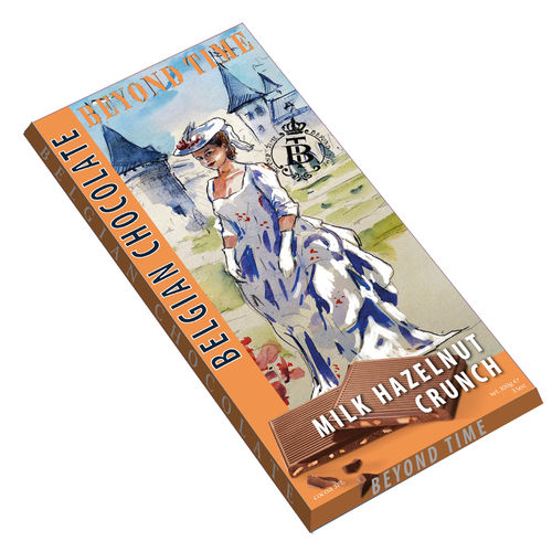 Beyond Time Belgian milk chocolate with hazelnut crunch, 25 Tafeln mit je 100g