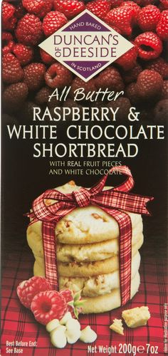 Raspberry & White Choc Shortbread Duncans of Deeside 12*200g