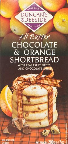 Orange Chocolate Chip Shortbread Duncans of Deeside 12*200g